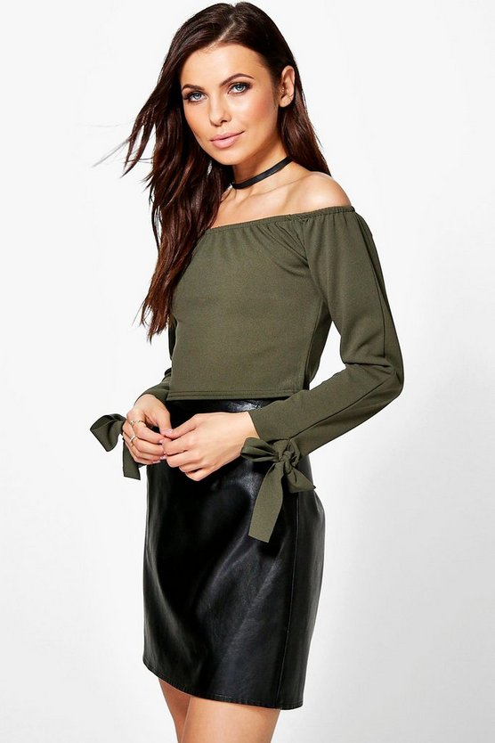 Womens Khaki Alice Tie Sleeve Bardot Top