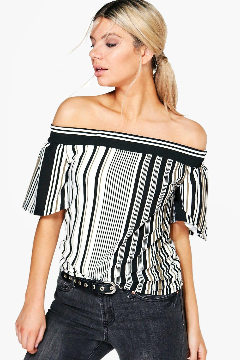 2705dd237fdbf Megan Stripe Off The Shoulder Top. Hover to zoom
