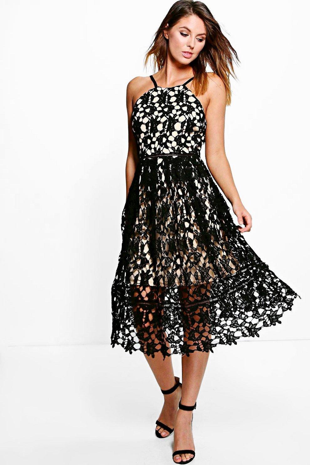 710d27dc3cff Boutique Strappy Lace Midi Skater Dress