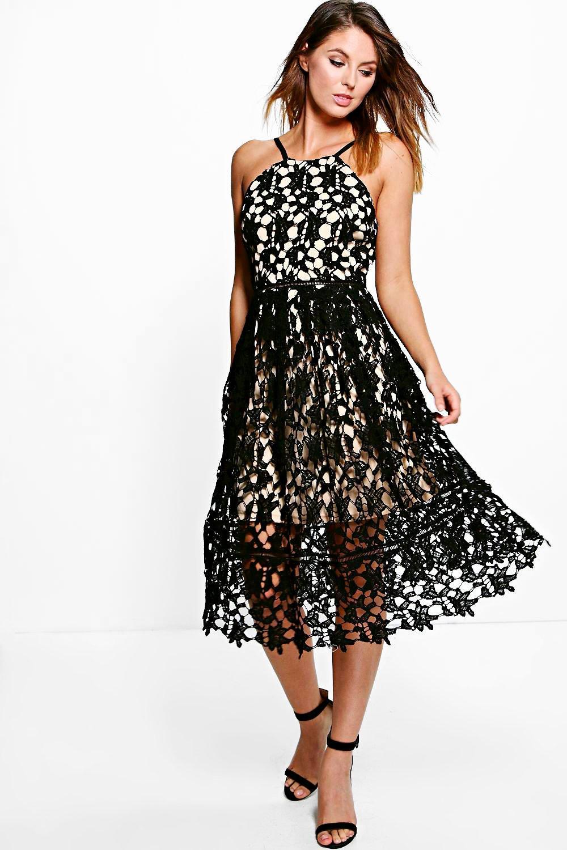 boohoo womens boutique ria strappy lace midi skater dress