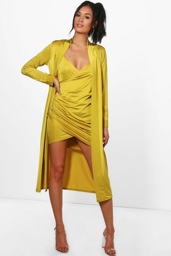 Womens Chartreuse Slinky Wrap Drape Dress & Duster Co-ord