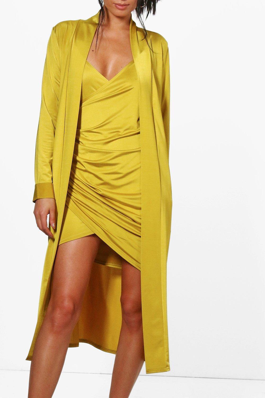 vestido drapeado cruzado y guardapolvo verde elegante de amarillo Conjunto txqSgPW