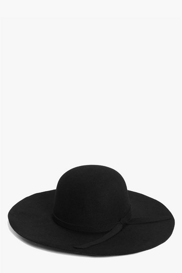 Womens Black Ribbon Trim Floppy Hat