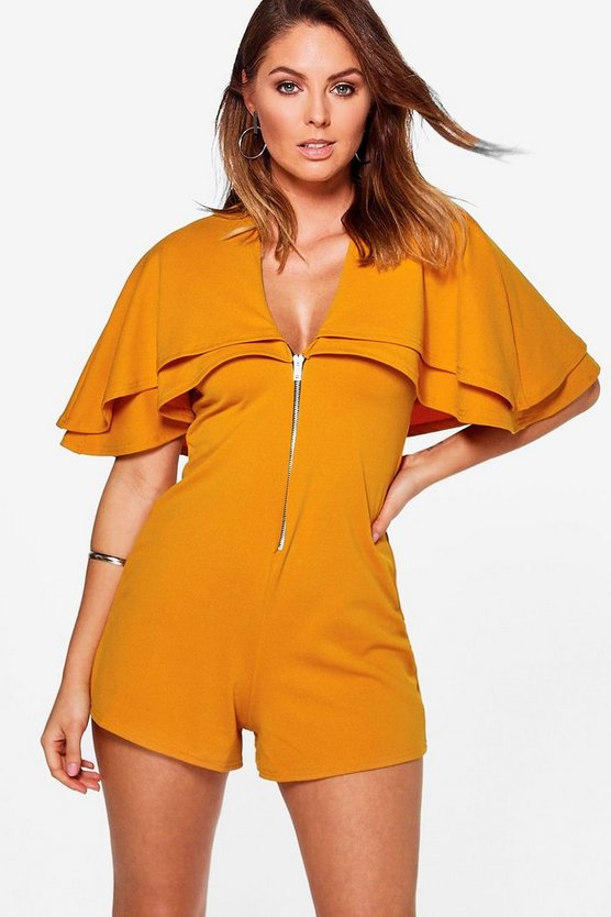 Nida Shoulder Cape Deep Plunge Playsuit