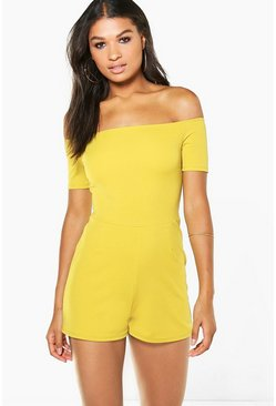 Womens Chartreuse Diana Off The Shoulder Playsuit