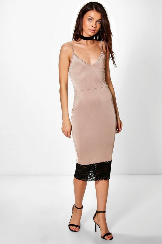 Maura Strappy Lace Hem Detail Midi Dress