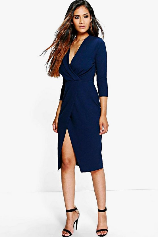 Crepe 3/4 Sleeved Wrap Detail Midi Dress