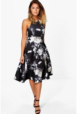 Womens Black Floral Strappy Midi Skater Dress