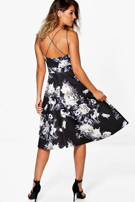 Floral Strappy Midi Skater Dress