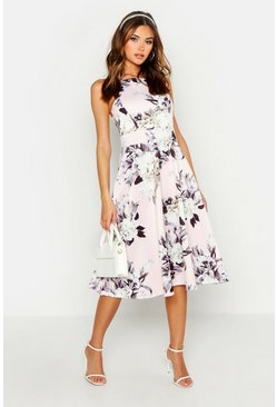 Womens Blush Floral Strappy Midi Skater Dress