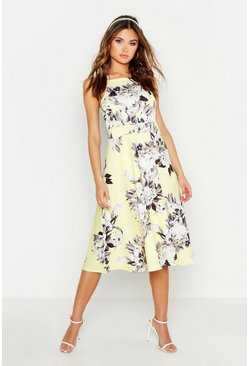 Womens Yellow Floral Strappy Midi Skater Dress