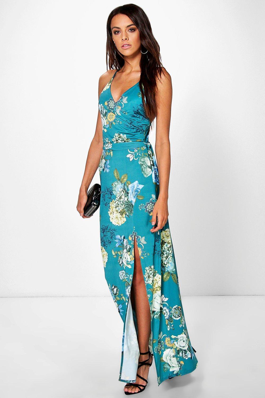 Austen Floral Skinny Neck Tie Wrap Dress | Boohoo