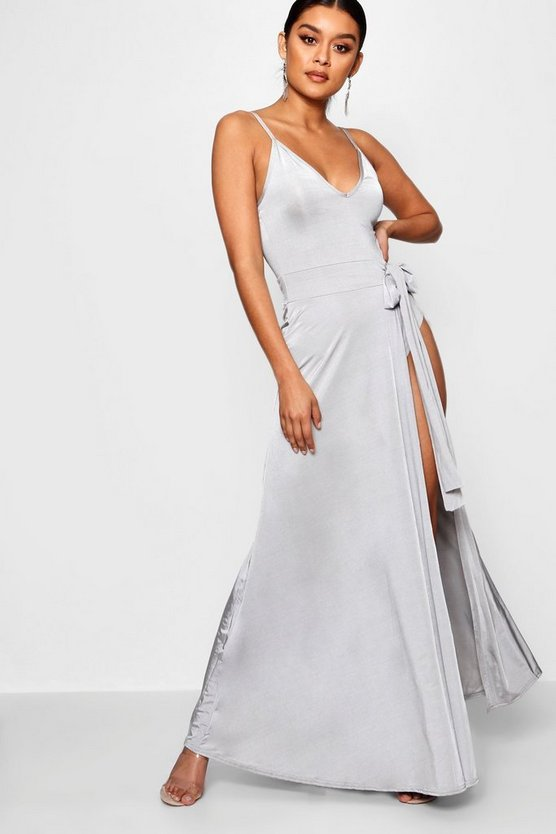 Slinky Strappy Side Tie Maxi Dress