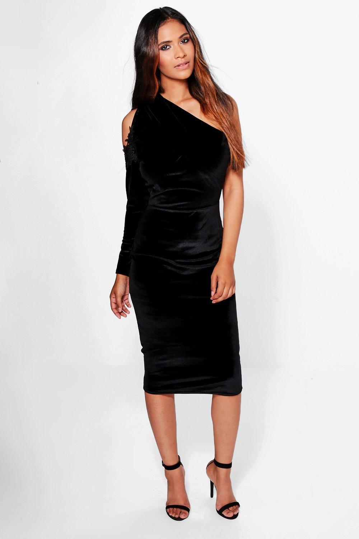 8645221d8d7 Womens Black Eve Velvet Cold Shoulder One Sleeve Midi Dress. Hover to zoom