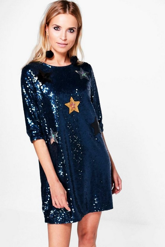 Boutique Yasmin Sequin Star Applique Shift Dress