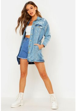 Womens Dark blue Oversized Distressed Denim Jacket