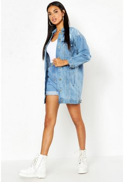 Womens Light blue Oversized Distressed Denim Jacket