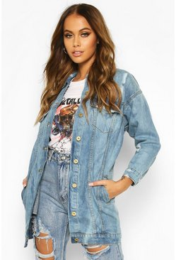 Mid blue Oversized Distressed Denim Jacket