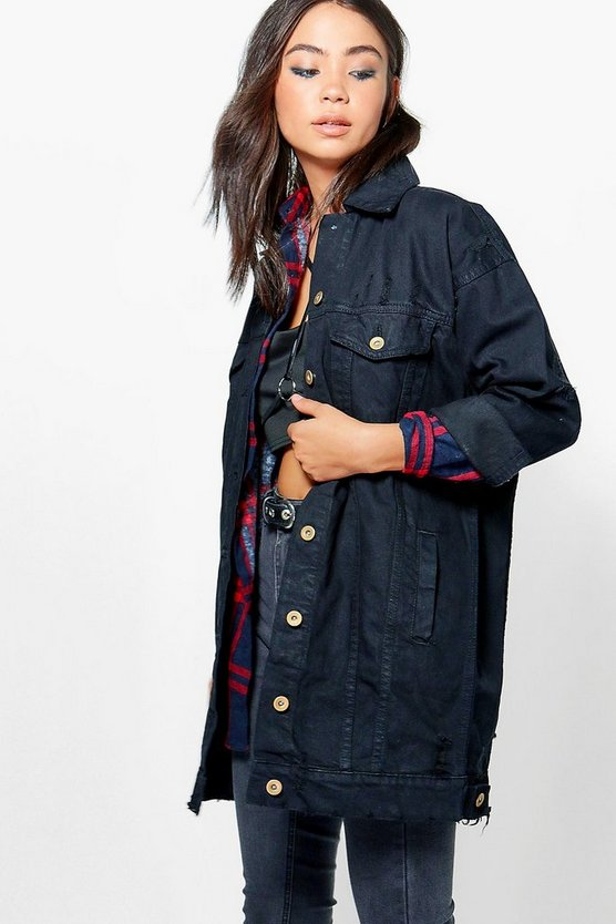 Womens Black Liz Oversized Distressed Denim Jacket