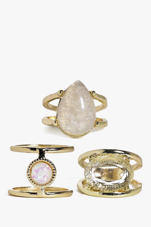 Evie Crystal Detail 3 Ring Pack