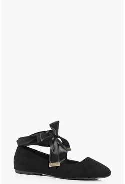 Womens Black Ribbon Wrap Ballets