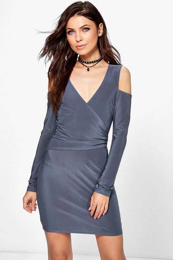 Cila Cut Out Shoulder Wrap Bodycon Dress