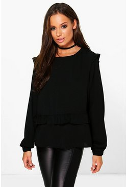 Womens Black Evelyn Ruffle Detail Blouse