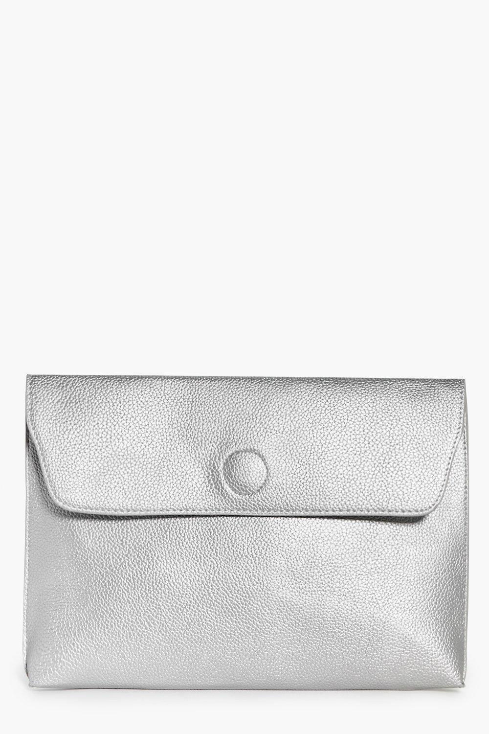 162f967e36 Womens Silver Lena Oversized Metallic Clutch Bag. Hover to zoom