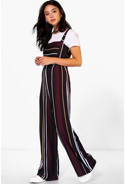 Womens Black Striped Jumpsuit
