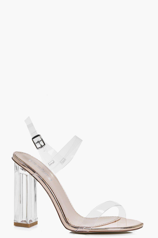 596746df5b Sarah Clear Block Two Part Heels | Boohoo