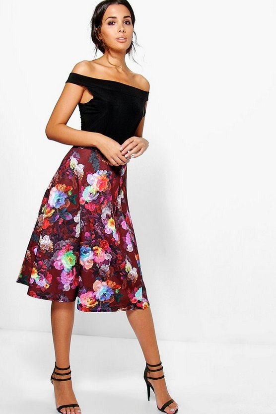 Womens Multi Orla Digital Floral Midi Skater Skirt