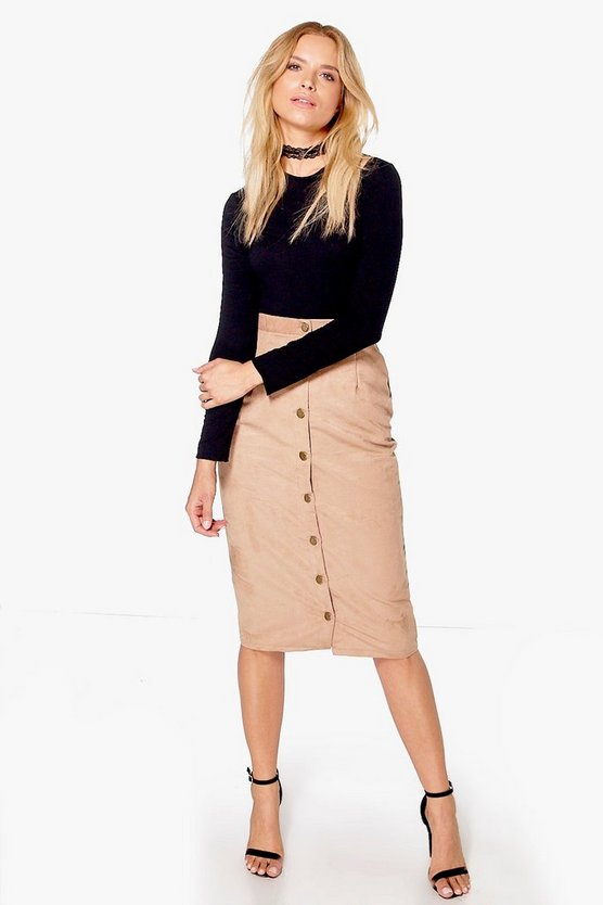Womens Sand Marin Button Front Woven Suedette Midi Skirt