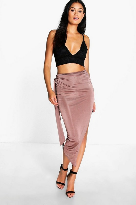 Womens Mocha Baha Tie Side Asymetric Midi Skirt