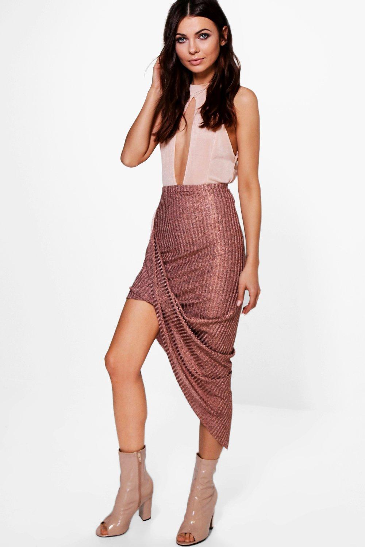 1495532558 Aria Rose Gold Knitted Draped Midi Skirt | Boohoo
