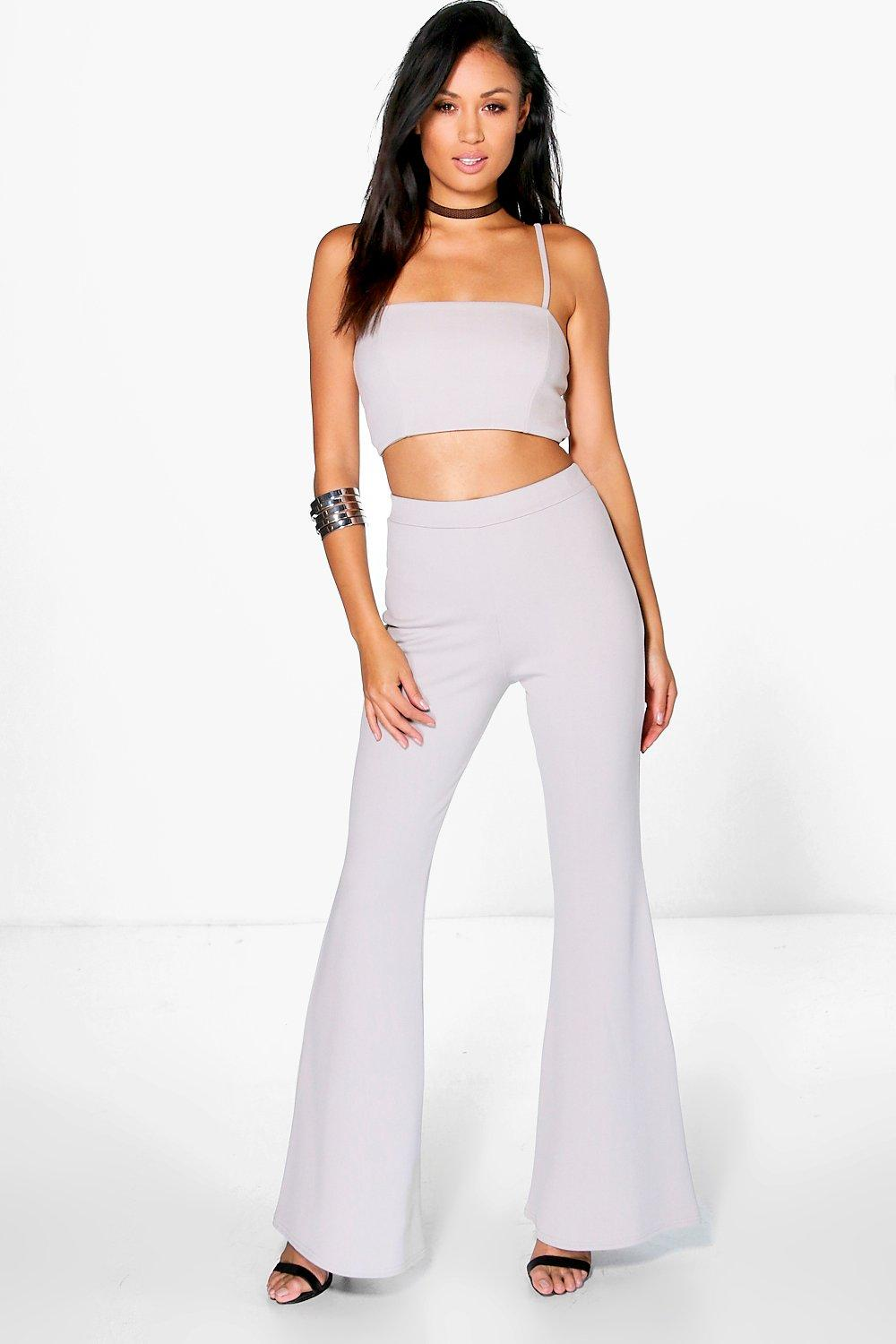 f6f1aebc28 Womens Grey Sophia Crop Bralet And Flared Trouser Co-Ord. Hover to zoom