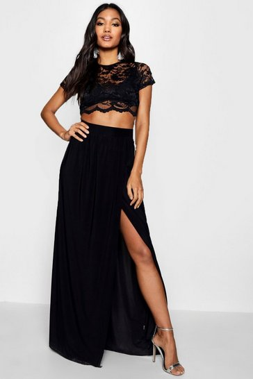 Womens Black Lace Crop Bralet And Maxi Skirt Co-ord