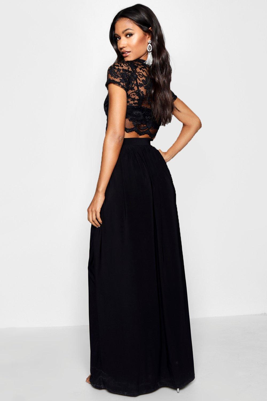 larga y negro corto falda corpiño encaje Conjunto de de qpxS4R
