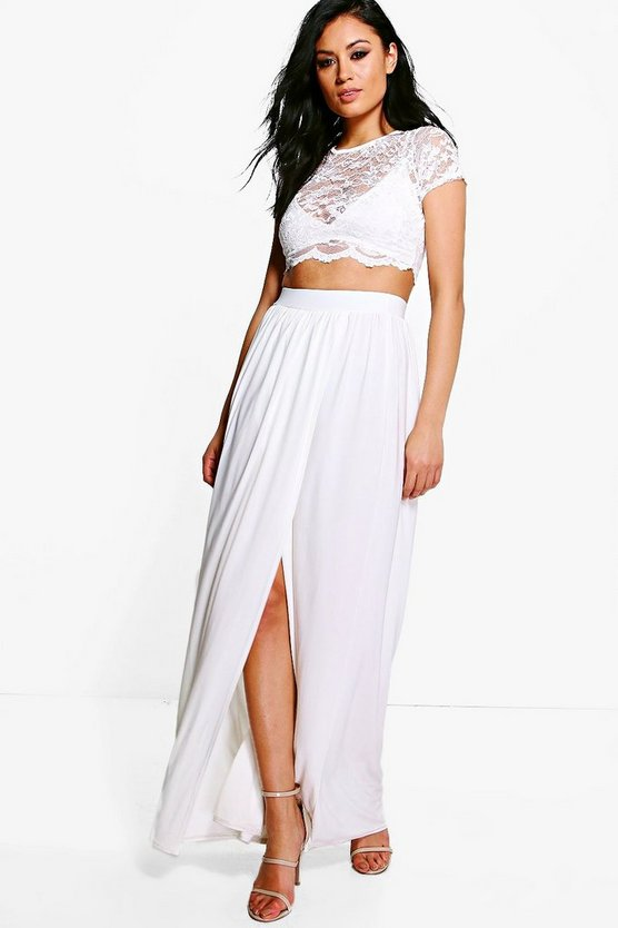 Womens Ivory Lace Crop Bralet And Maxi Skirt Co-ord
