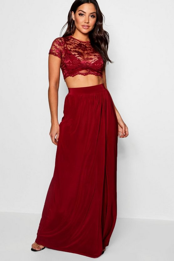 Lace Crop Bralet And Maxi Skirt Co-ord