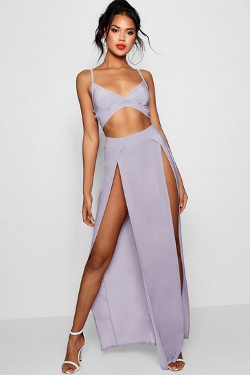 Womens Silver Slinky Bralet And Split Maxi Skirt Co-Ord