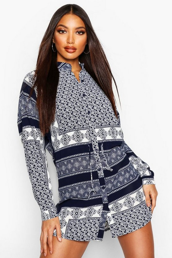 Navy Print Tie Waist Shirt Dress