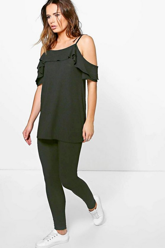 Womens Black Heather Cold Shoulder Ruffle Knitted Loungewear