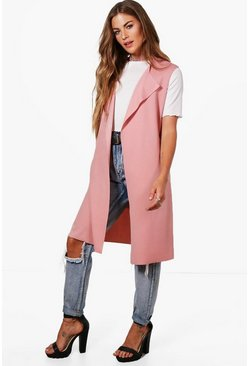 Womens Rose Sleeveless Belted Duster