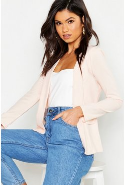 Womens Blush Collarless Blazer