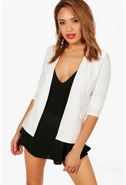 Ivory Collarless Blazer