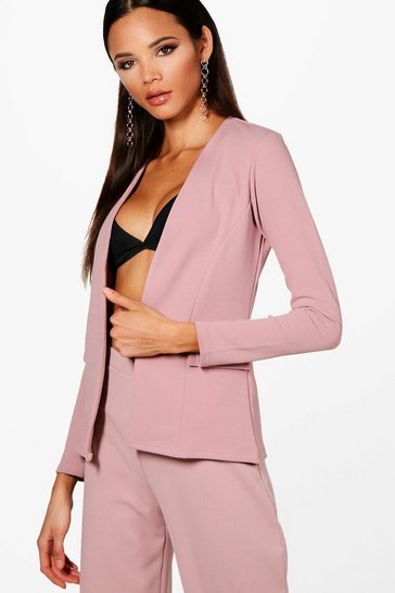 Mauve Collarless Blazer