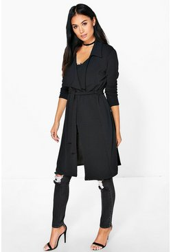 Womens Black Nicole Belted Duster