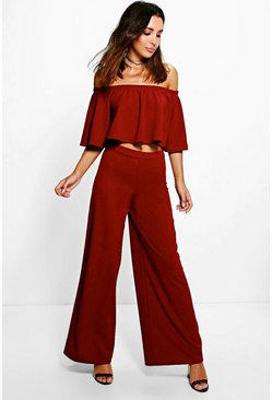 Womens Merlot Aria Off The Shoulder And Wide Leg Trouser Co-Ord