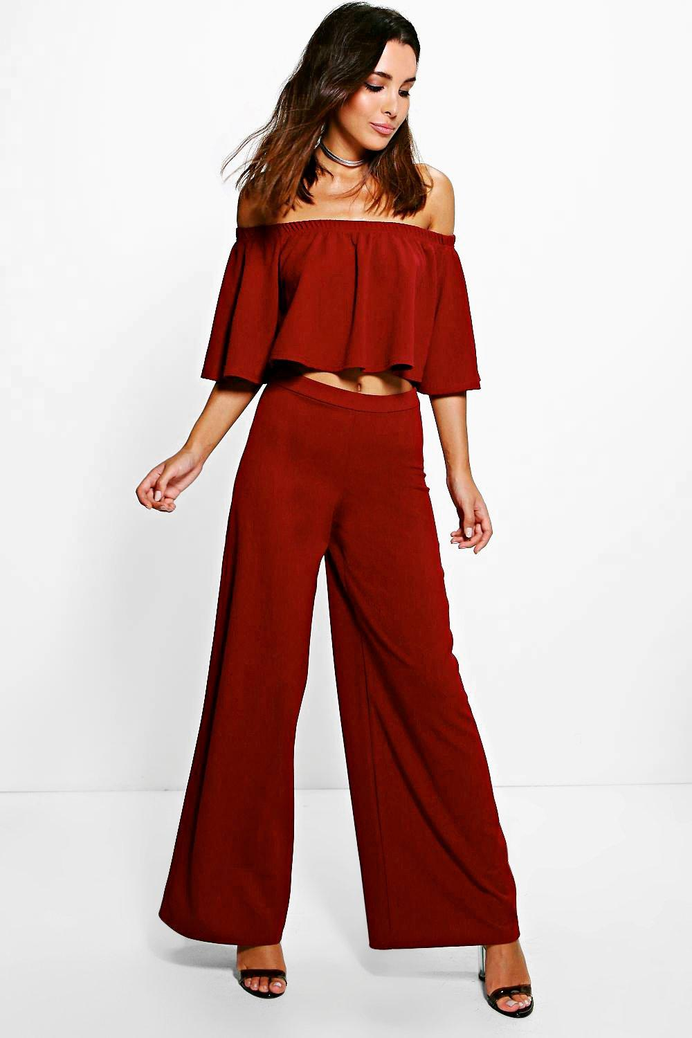 54d610740594b8 Aria Off The Shoulder And Wide Leg Trouser Co-Ord