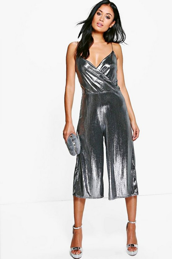 Plus Serena Jumpsuit in Metallic-Optik mit Hosenrock
